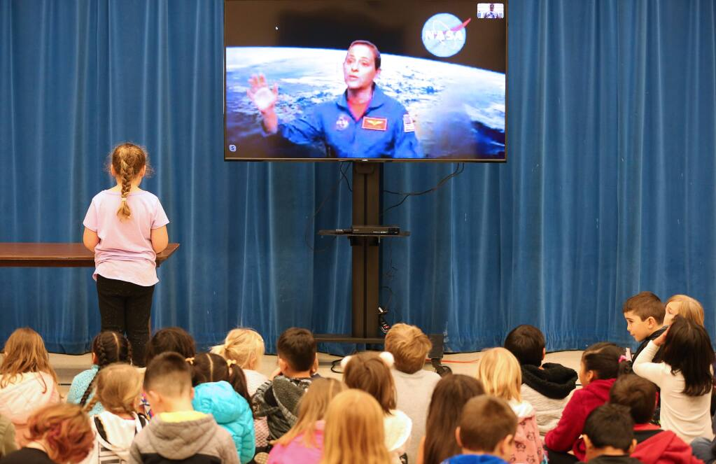 NASA astronaut Nicole Mann answers questions from University Elementary School students in Rohnert Park on Tuesday, Feb. 4, 2020. (Christopher Chung/ The Press Democrat)