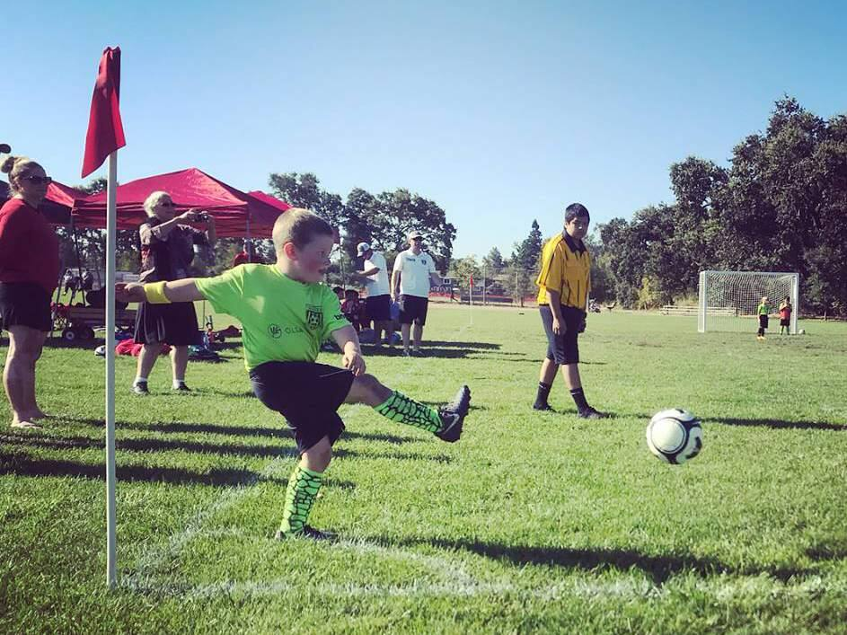 A young soccer play practices a corner kick during recreational activity with the Sonoma Valley Youth Soccer Association, which has joined with the Sonoma Soccer Club into the new Sonoma Valley United. (Submitted)