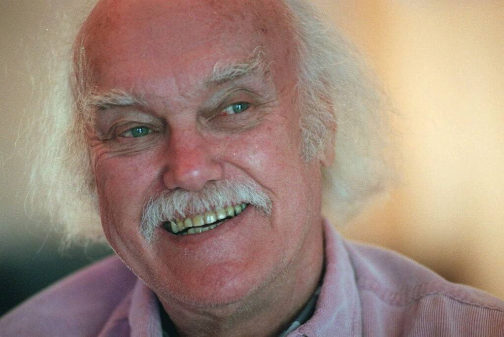 FILE - In this Oct. 21, 1998 file photo, Ram Dass, best known for the 1971 bestseller 'Be Here Now,' smiles during an interview at his San Anselmo, Calif., home. The 1960s counterculture spiritual leader and early LSD proponent died, Sunday, Dec. 22, 2019 at his home in Maui, Hawaii. He was 88. (AP Photo/Susan Ragan, File)