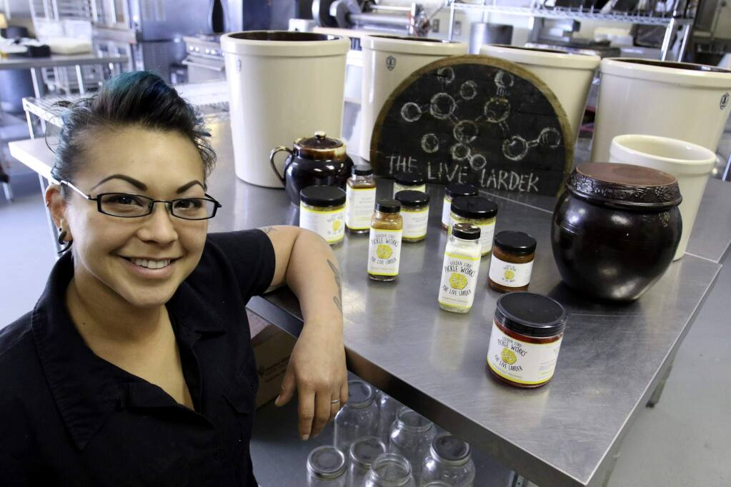 Samantha Paone, owner, of Golden State Pickle Works with some of her products at her kitchen in Petaluma on Tuesday, May 31, 2016. (SCOTT MANCHESTER/ARGUS-COURIER STAFF)