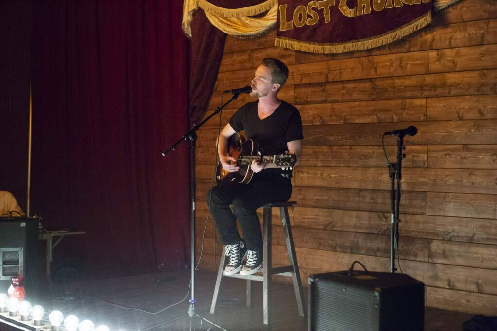 Bryce David Dow-Williamson plays at The Lost Church opening night preview in Santa Rosa on Saturday, Nov. 3, 2018. (Estefany Gonzalez / For The Press Democrat)