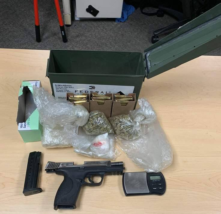 The handgun, cocaine and other items police found during a search of a 19-year-old's Santa Rosa home and vehicles, leading to his arrest on Wednesday, May 1, 2019. (SANTA ROSA POLICE DEPARTMENT)