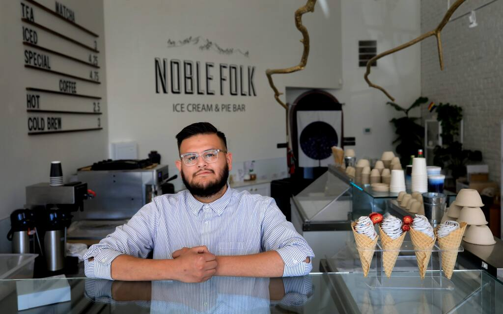 Ozzy Jimenez, 33, was unanimously appointed to the Healdsburg City Council on Tuesday, making him just the third Latino resident to serve in the role in the city's 153-history. Jiminez is the chief executive officer of Noble Folk Ice Cream & Pie Bar, which has locations on the Healdsburg Plaza and downtown Santa Rosa, where he's pictured here, on Monday, Nov. 25, 2019. (Kent Porter / The Press Democrat) 2019