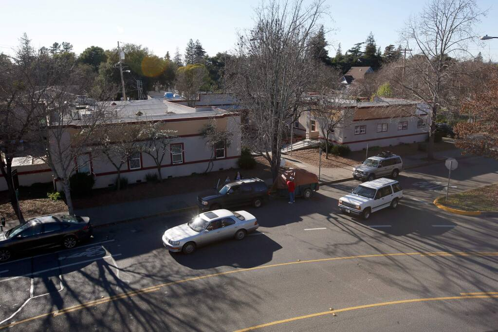 An exterior view of the Catholic Charities Family Support Center, which was formerly a hospital in the building's previous iteration, in Santa Rosa, California, on Thursday, February 15, 2018. (Alvin Jornada / The Press Democrat)