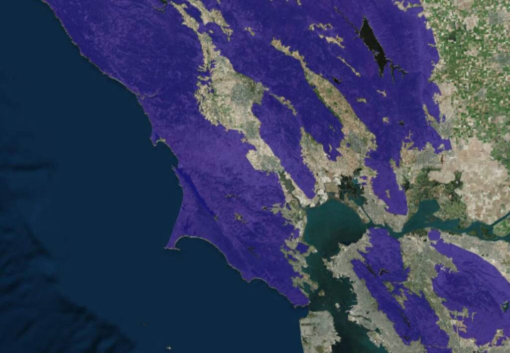 A screen shot of the fire risk map developed by the California Public Utilities Commission.