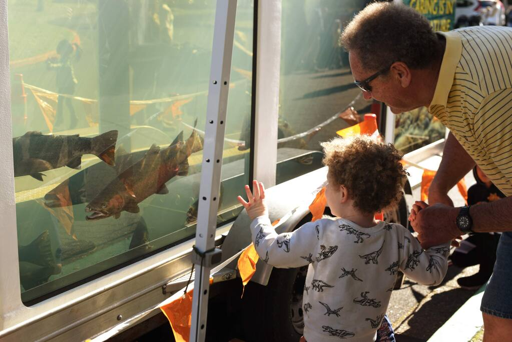 Bill Price, right, with Tucker Price, 3, taking an up close look at some Steelheads at the Lake Sonoma Steelhead Festival held at the Milt Brandt Visitor Center in Geyserville, Calif. on Saturday, February 8, 2020.(Photo: Erik Castro/for The Press Democrat)