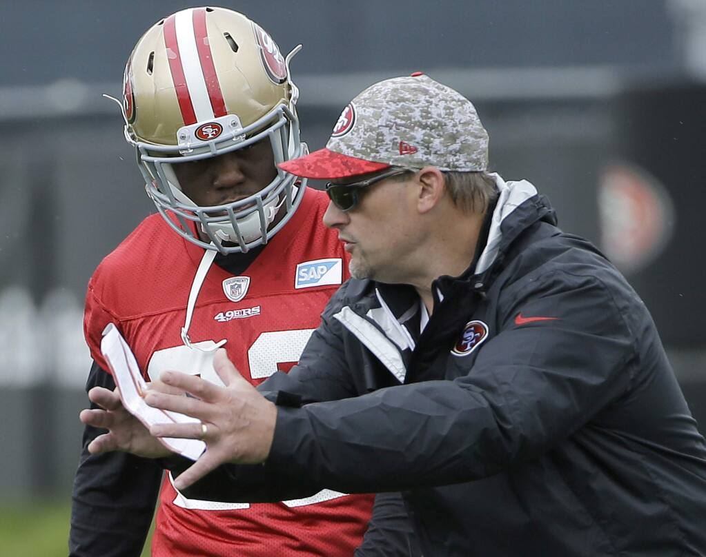 San Francisco 49ers running backs coach Tom Rathman, right, talks with Kelvin Taylor during rookie minicamp in Santa Clara, Saturday, May 7, 2016. (AP Photo/Jeff Chiu)