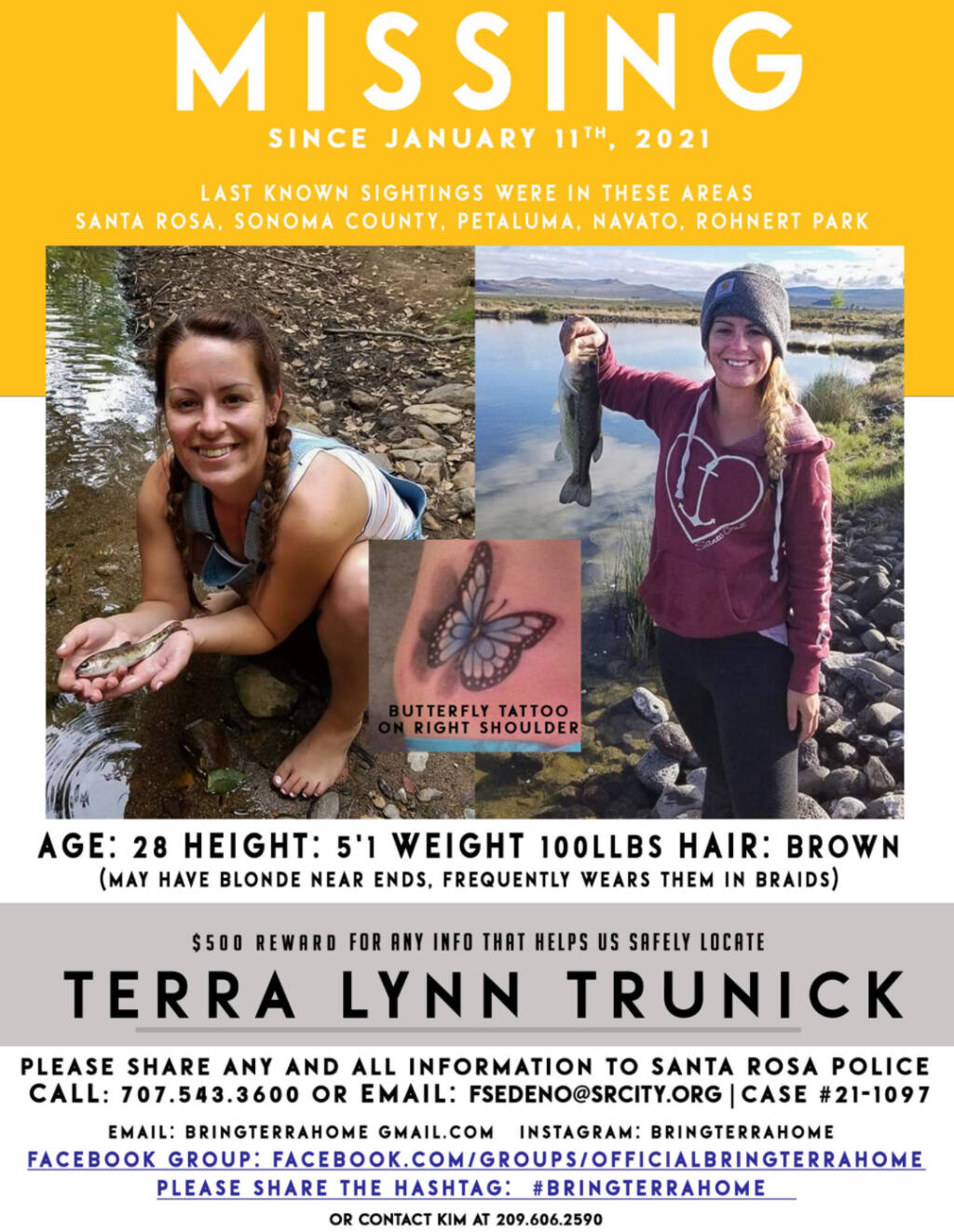Terra Trunick, 28, is a Santa Rosa resident who has been missing for more than a month. (Official Bring Terra Home / Facebook)