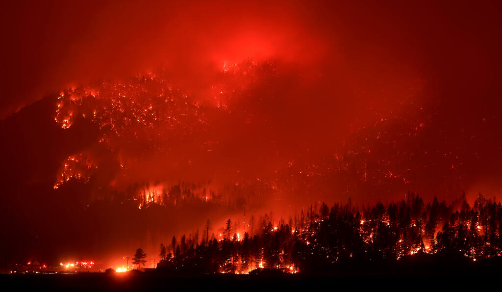 The Dixie Fire pummels Keddie Ridge which borders the Plumas and Lassen National Forests, adding 10 thousand acres in one afternoon as the half million acre blaze makes a strong push into Indian Valley east of Greenville, Monday, Aug. 9, 2021. Keddie peak is 5,663 feet in elevation. (Kent Porter / The Press Democrat) 2021