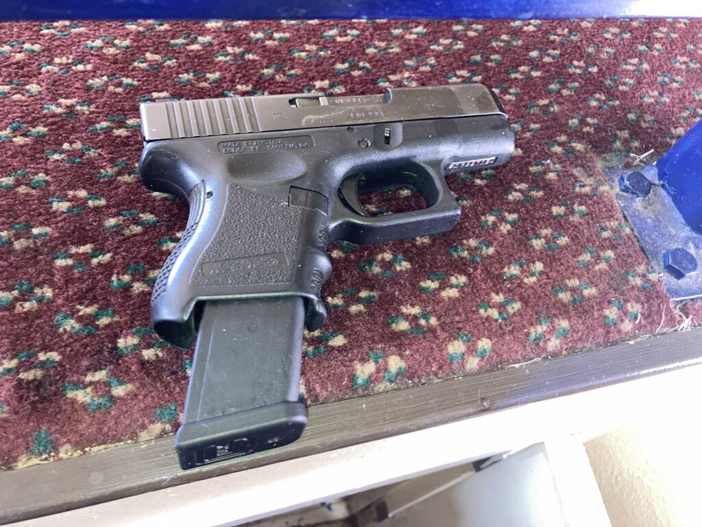This image shows a gun Santa Rosa police confiscated during an arrest on Tuesday, Sept. 14, 2021. They arrested a suspect in a May 9 shooting that injured a Santa Rosa man. (Santa Rosa Police Department)