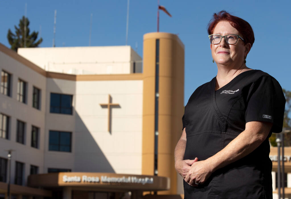 Radiologic technologist Tammera Campbell poses for a portrait in front of Santa Rosa Memorial Hospital, in Santa Rosa, California, on Friday, September 4, 2020. (Alvin A.H. Jornada / The Press Democrat)