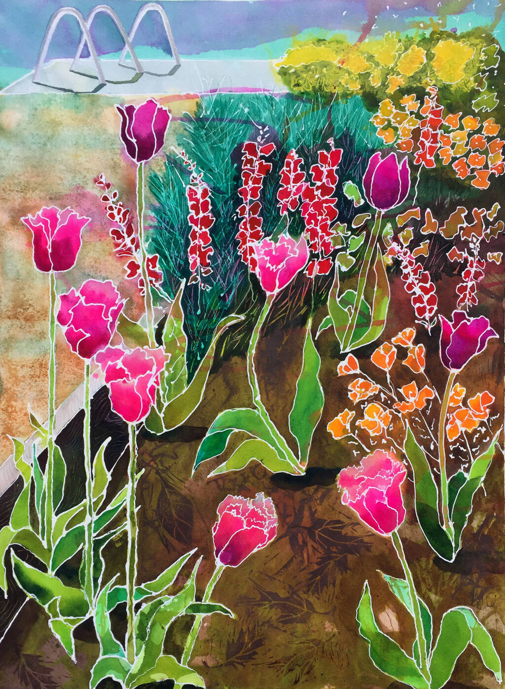 """Tulips with Bike Rack"" by Marilyn J. Dizikes, who works in acrylics, watercolor, printmaking and clay. (Petaluma Arts Association)"