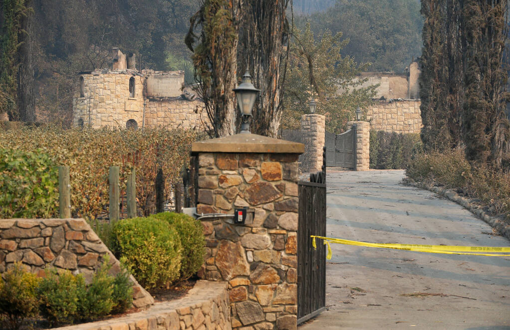 Chateau Boswell Winery was burned in the Glass fire near St. Helena.  (Christopher Chung/ The Press Democrat)