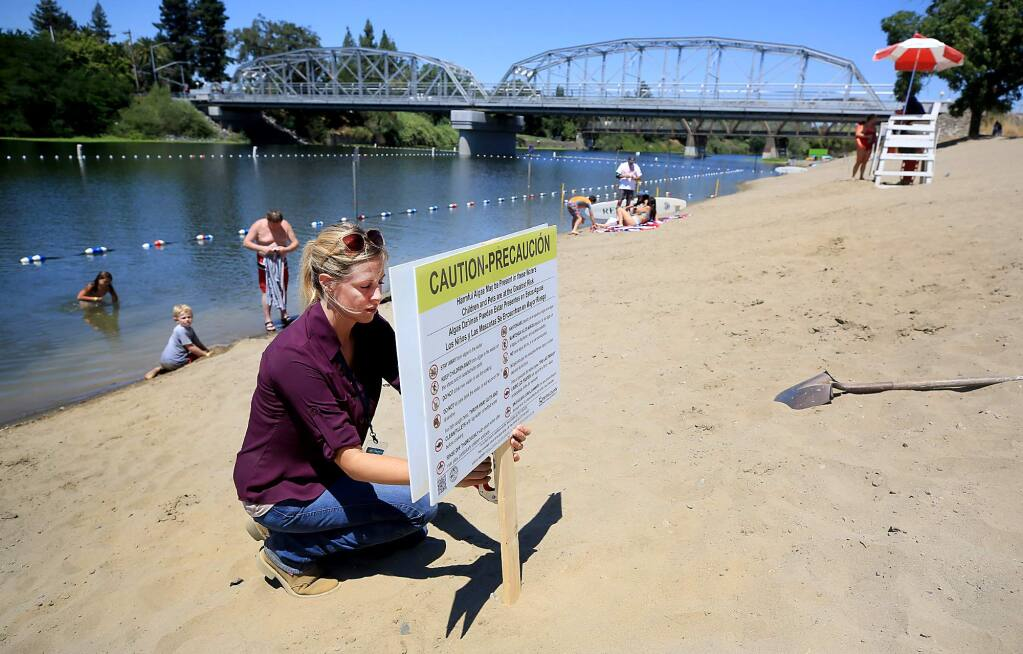 Ashley Brown of the Sonoma County department of Health Services staples a precaution notice alerting visitors to positive test results for a potentially dangerous naturally occurring neurotoxin, Anatoxin-a, linked to harmful type of blue-green algae, Wednesday July 27, 2017 at Healdsburg Memorial Beach, (Kent Porter / Press Democrat) 2017