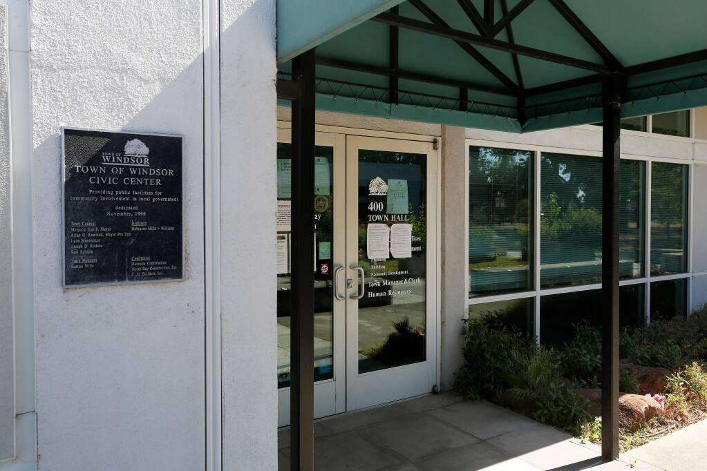 Windsor Town Hall, located at 9291 Old Redwood Highway #400 in Windsor, on Monday, June 22, 2020. (Alvin Jornada / The Press Democrat)