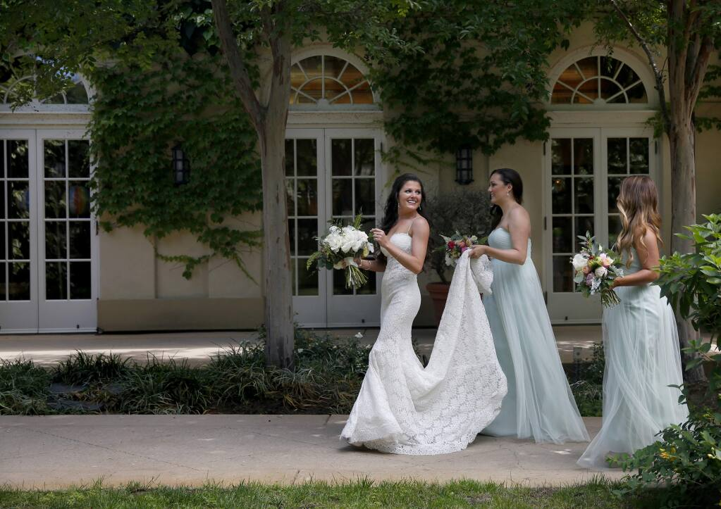 Samantha Carisch and her bridal party during The Knot's Dream Wedding at Chateau St. Jean in Kenwood, on Thursday, June 4, 2015. (BETH SCHLANKER/ The Press Democrat)