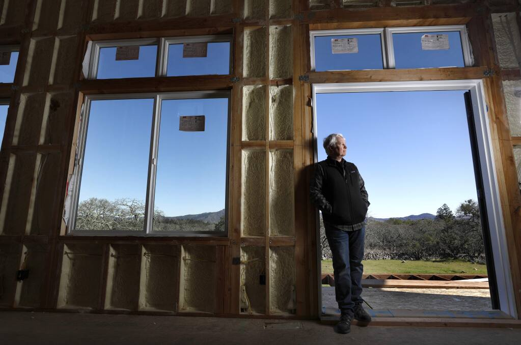 Pete Parkinson at his home under construction on Bennett Ridge Road on the southeastern outskirts of Santa Rosa on Tuesday, February 19, 2019. (BETH SCHLANKER/ The Press Democrat)