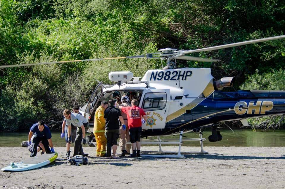 First responders at Mother's Beach in Forestville where a man was pulled from the Russian River on May 28, 2020. He later died. (Evan Jacobs/Forestville Fire Protection District)