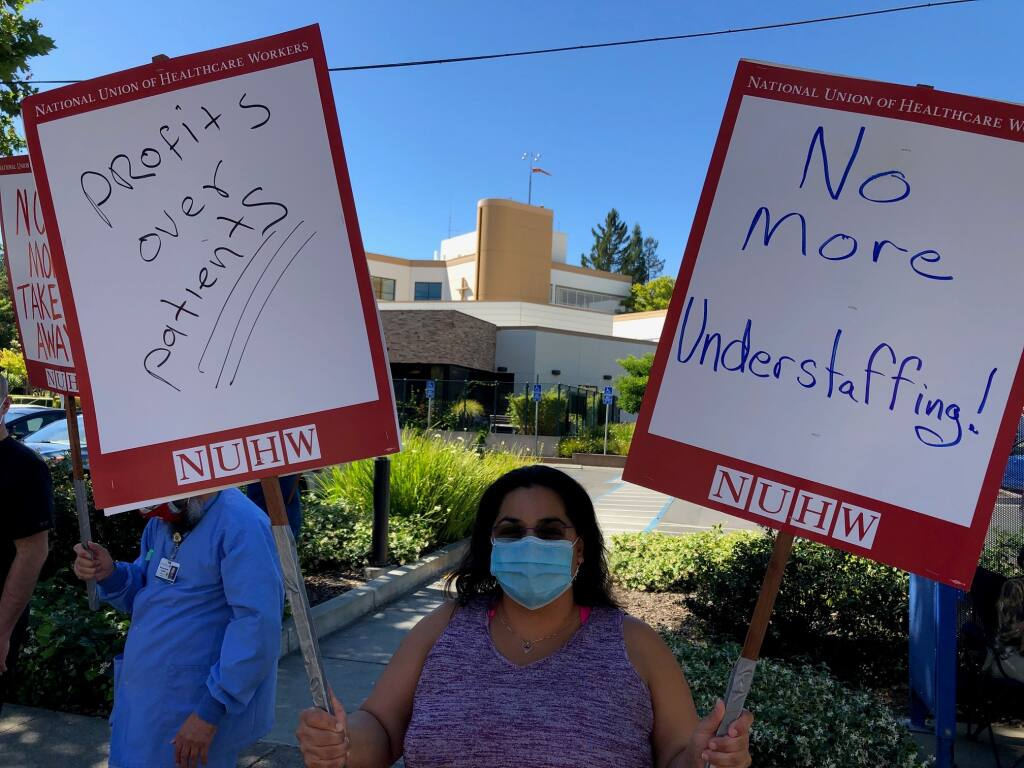 Unionized workers at Santa Rosa Memorial Hospital hold an informational strike outside the hospital on June 3, 2020. (Photo courtesy National Union of Healthcare Workers)