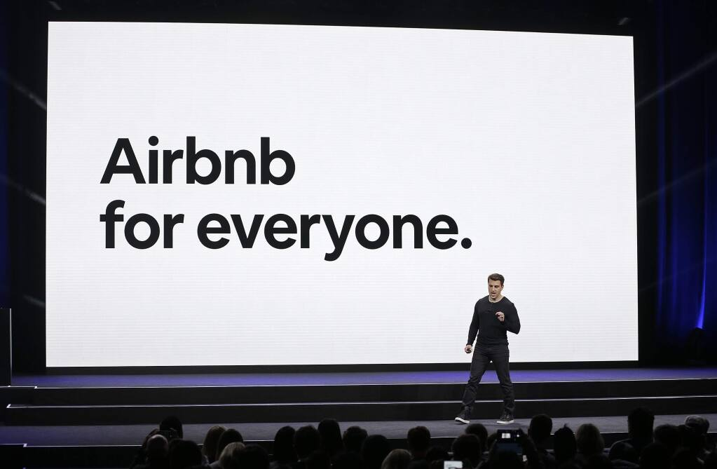 FILE - In this Feb. 22, 2018, file photo, Airbnb co-founder and CEO Brian Chesky speaks during an event in San Francisco. The city of Santa Rosa hopes to regulate properties rented on Airbnb and other similar sites. (AP Photo/Eric Risberg, File)
