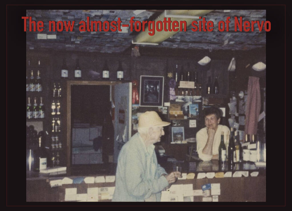 """While staring at fire maps of this area during the conflagrations in August, I noticed a place name I'd never seen before. Directly north of Geyserville is a place called """"Nervo"""". Photo: Interior of Nervo Winery tasting room, near Geyserville, Calif. in the 1960's. (Courtesy: The Sonoma County Library.)"""
