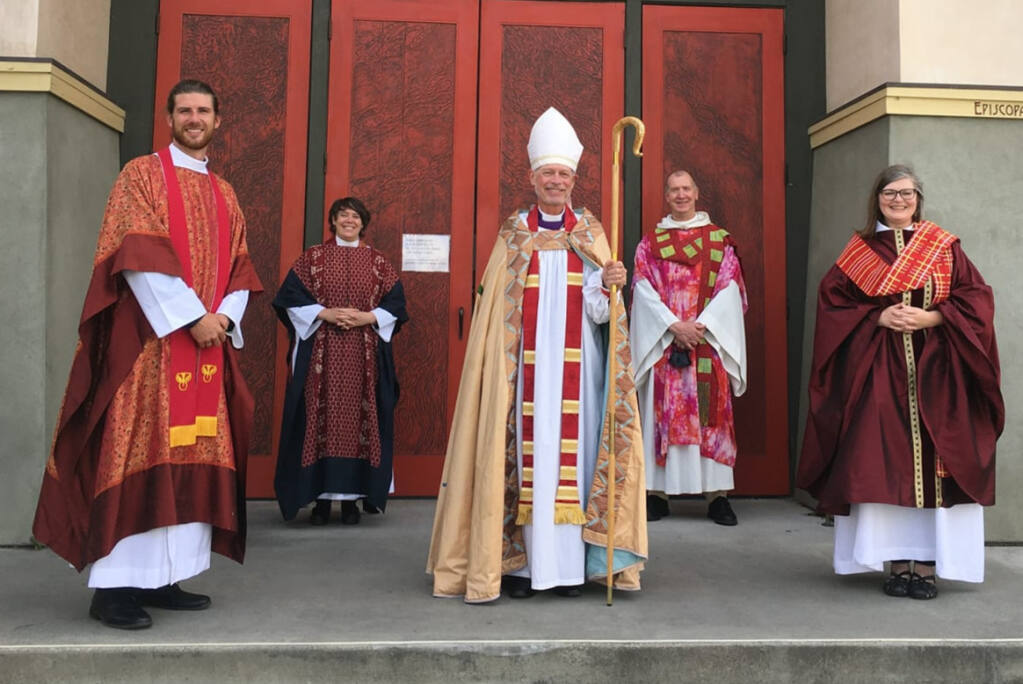 Peter Levenstrong, far left, at his ordainment last weekend in San Francisco.