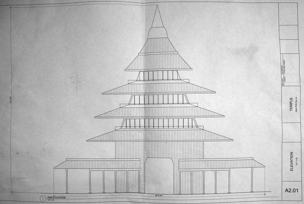 The blueprints of a wooden temple by artist David Best that will be assembled at Burning Man. Photo taken on Saturday, July 30, 2016 in Petaluma, California . (BETH SCHLANKER/ The Press Democrat)