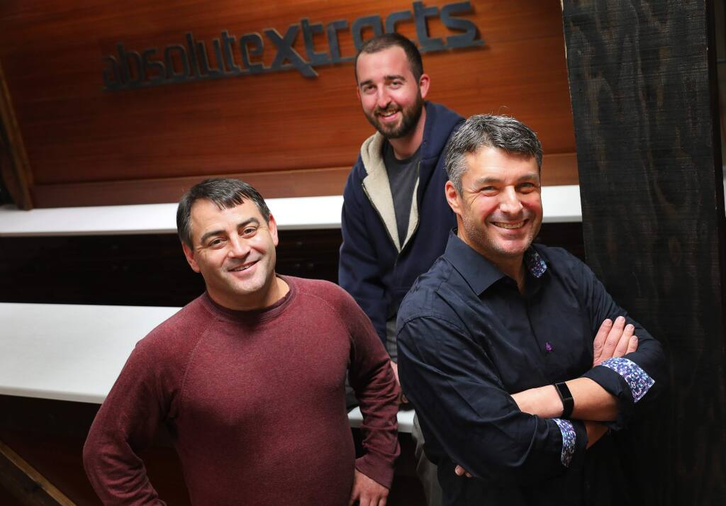 Bill Silver, right, is the new chief executive officer of CannaCraft, joining company co-founders Ned Fussell, middle, and Dennis Hunter. (Christopher Chung/ The Press Democrat)