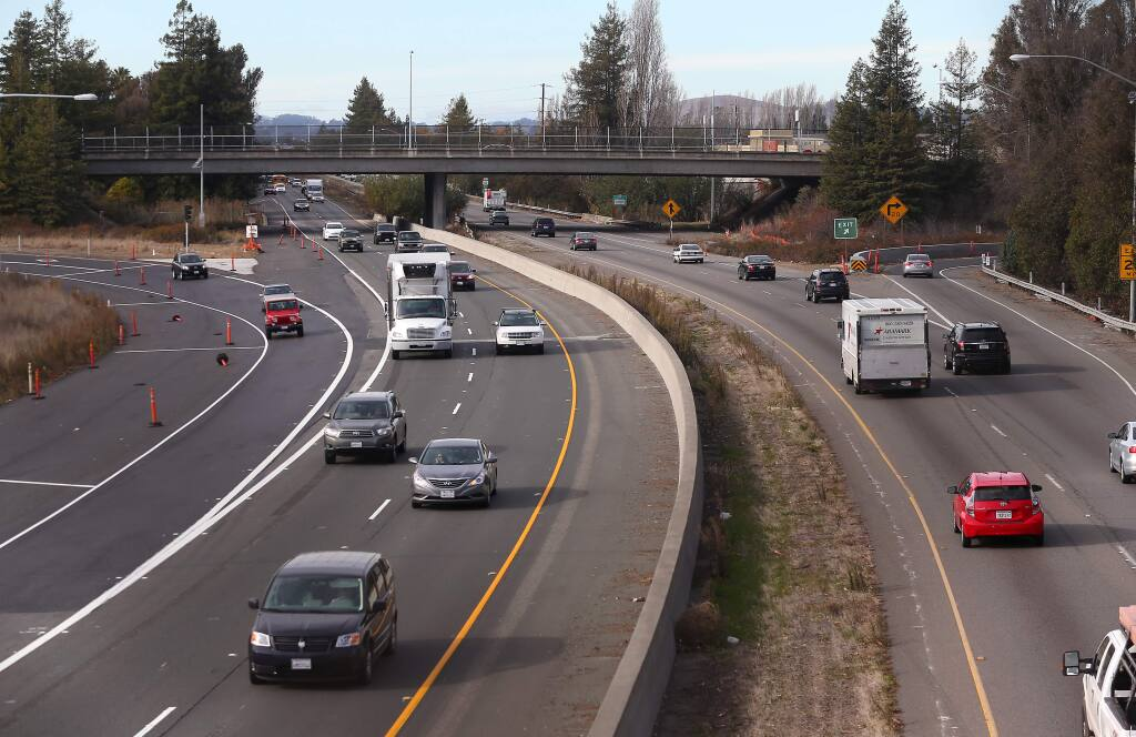 Highway 101 at the East Washington Street interchange in Petaluma in 2013. (CHRISTOPHER CHUNG/ PD)
