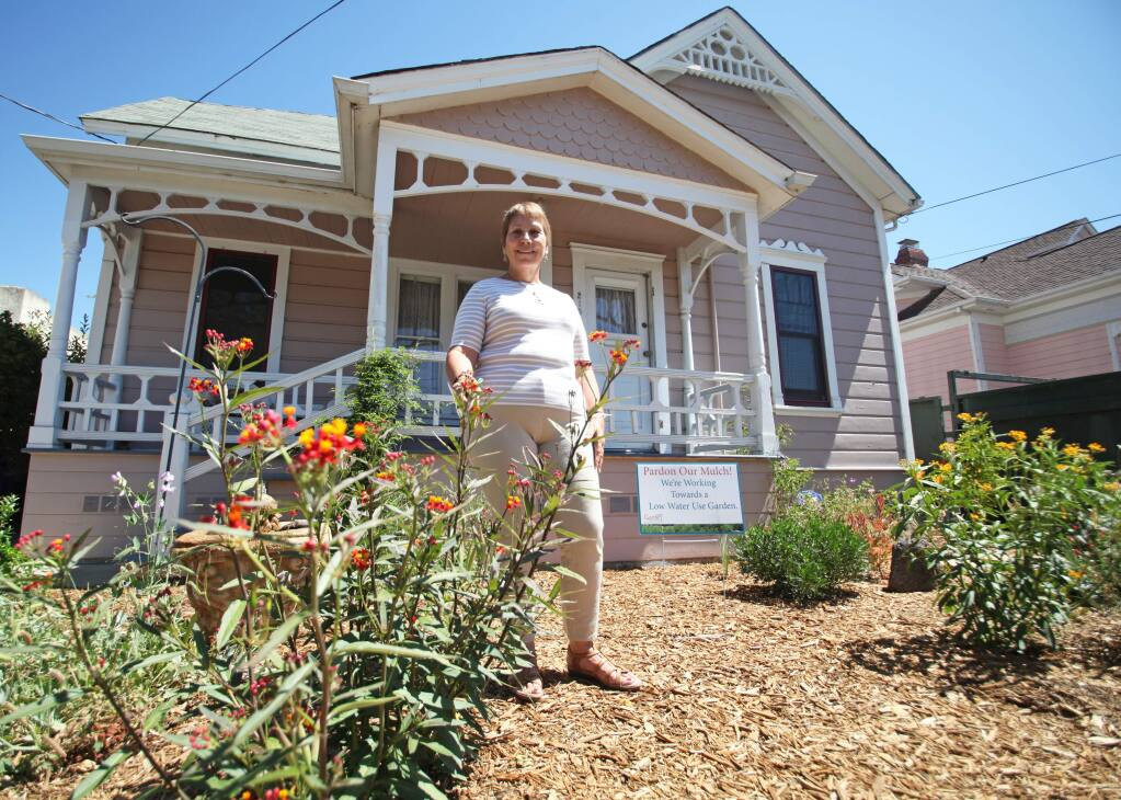 Petaluma resident and master gardener Suzanne Clarke has mitigated drought impacts on her landscape by replacing grass with sheet mulch and planting native vegetation.