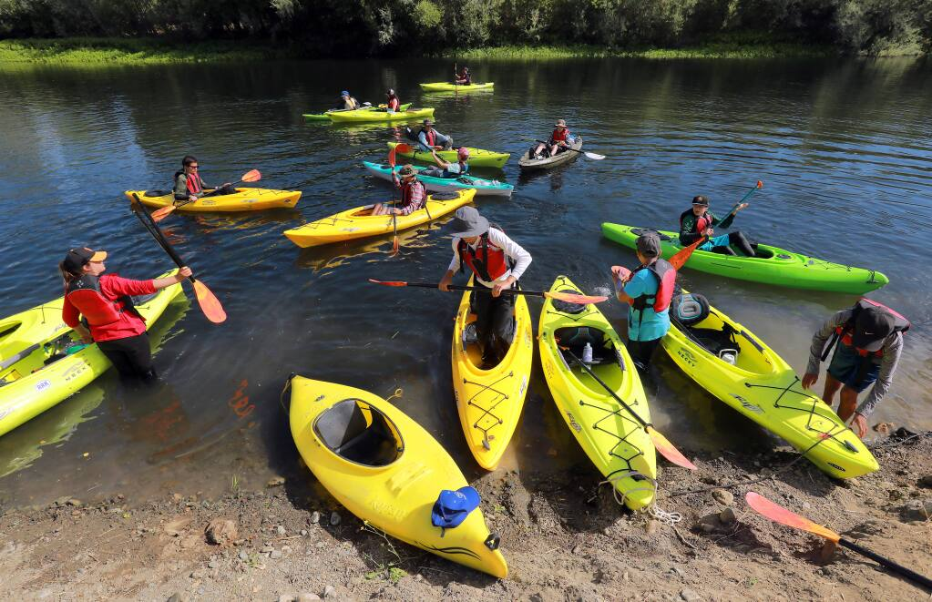 Sixteen teens ages 12-14 experienced 21-miles of the Russian River from Asti to Healdsburg during the LandPaths Russian River Teen Trek. (photo by John Burgess/The Press Democrat)