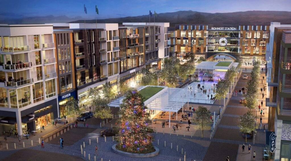 Station Avenue, formerly called Rohnert Station, envisions a mixed-use development with homes, offices, retail shops and a hotel on a 32-acre campus just south of Rohnert Park Expressway. (LAULIMA)