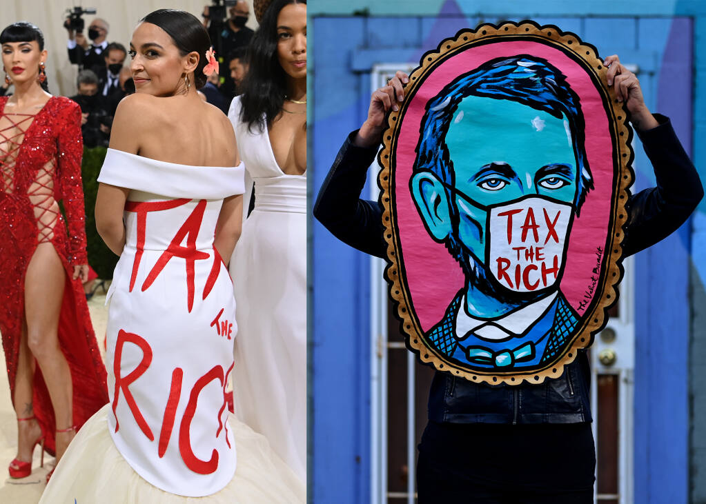 """Left, Rep. Alexandria Ocasio-Cortez, D-N.Y.,  at the Metropolitan Museum of Art's Costume Institute benefit gala in New York, Sept. 13, 2021. On the right, Santa Rosa artist The Velvet Bandit with her """"Tax the Rich"""" painting.  (Photo of Ocasio-Cortez by Nina Westervelt / The New York Times. Photo of The Velvet Bandit by Kent Porter / The Press Democrat)"""
