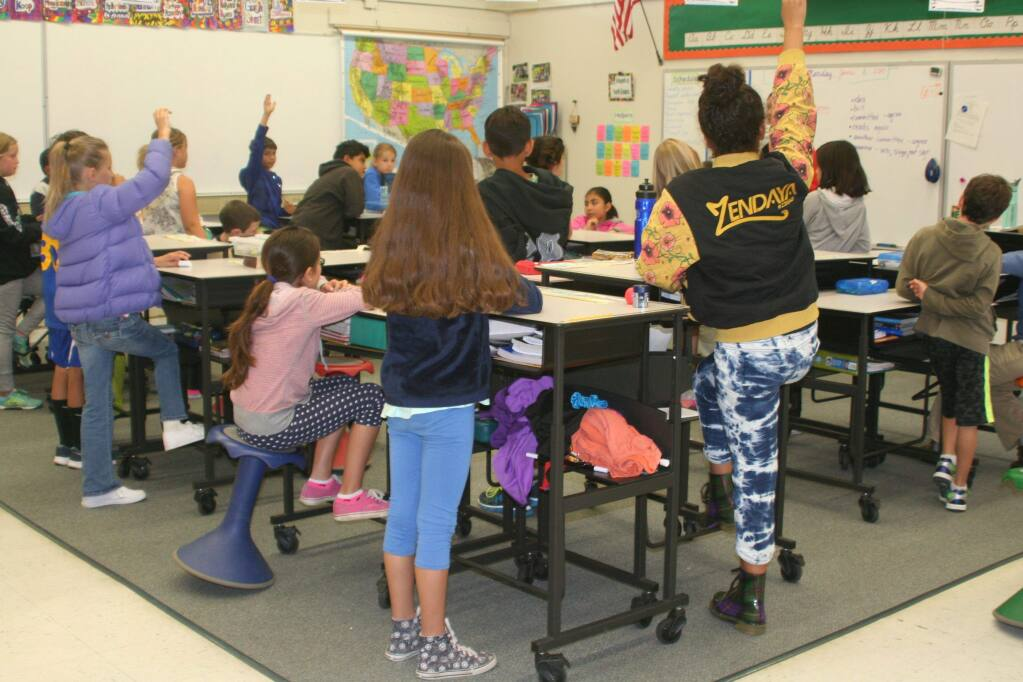 All classroom desks at Vallecito Elementary School, in San Rafael, have been replaced with standing desks.