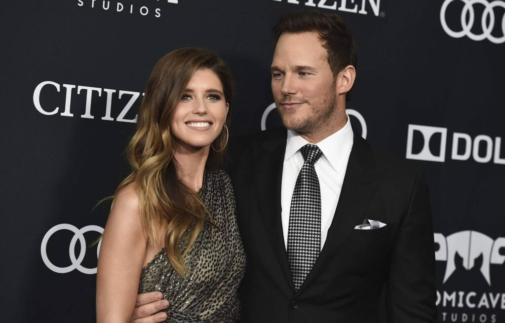 FILE - In this April 22, 2019, file photo, Katherine Schwarzenegger, left, and Chris Pratt arrive at the premiere of 'Avengers: Endgame,' at the Los Angeles Convention Center. In an Instagram post Sunday, June 9, 2019, Pratt announced that he and Schwarzenegger were married the day before in a ceremony that was 'intimate, moving and emotional.' (Photo by Jordan Strauss/Invision/AP, File)