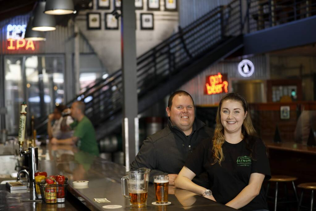 New owners Chris and Arika Frederick at Third Street Aleworks in Santa Rosa, California on Thursday, May 23, 2019. (BETH SCHLANKER/The Press Democrat)