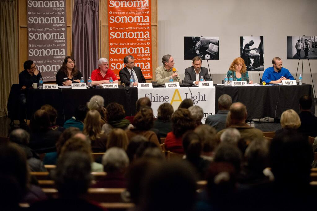 Panelists at the Lost in Paradise forum on homelessin Sonoma County. (ALVIN JORNADA / The Press Democrat, 2014)