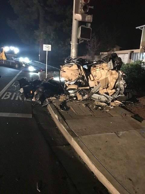 A man died after crashing into a light pole in Rohnert Park on Friday, Oct. 19, 2018. (ROHNERT PARK POLICE & FIRE/ FACEBOOK)