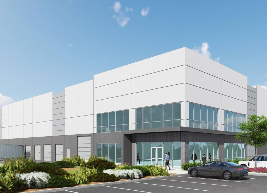 Architectural rendering of the 617,000-square-foot building anchoring phase 2 of the NorthBay Logistics Center warehouse project in Vacaville. Amazon leased the building in the third quarter of 2020, and property owner LDK Ventures expects completion in July 2021. (courtesy of Cushman & Wakefield)