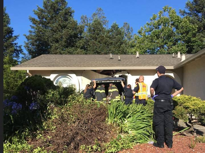 Emergency crews on Heath Circle in Rohnert Park where a driver crashed into a home on Sunday, July 14, 2019. (ROHNERT PARK DEPARTMENT OF PUBLIC SAFETY)