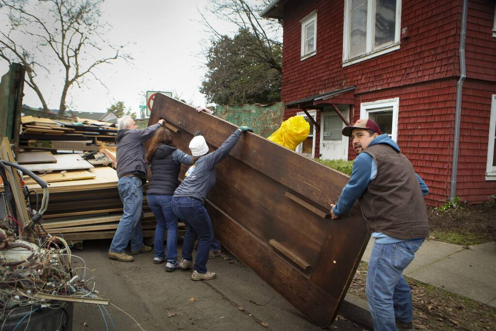 Petaluma, CA, USA. Monday, January 20, 2020._Volunteers gathered to help begin the restoration of the Polly Klaas Performing Arts Center.(CRISSY PASCUAL/ARGUS-COURIER STAFF)