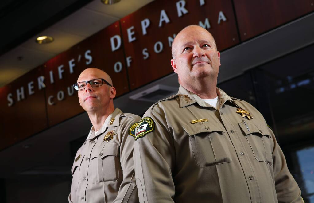 Sonoma County Sheriff Steve Freitas, right, and Assistant Sheriff Robert Giordano. (CHRISTOPHER CHUNG/ PD FILE)