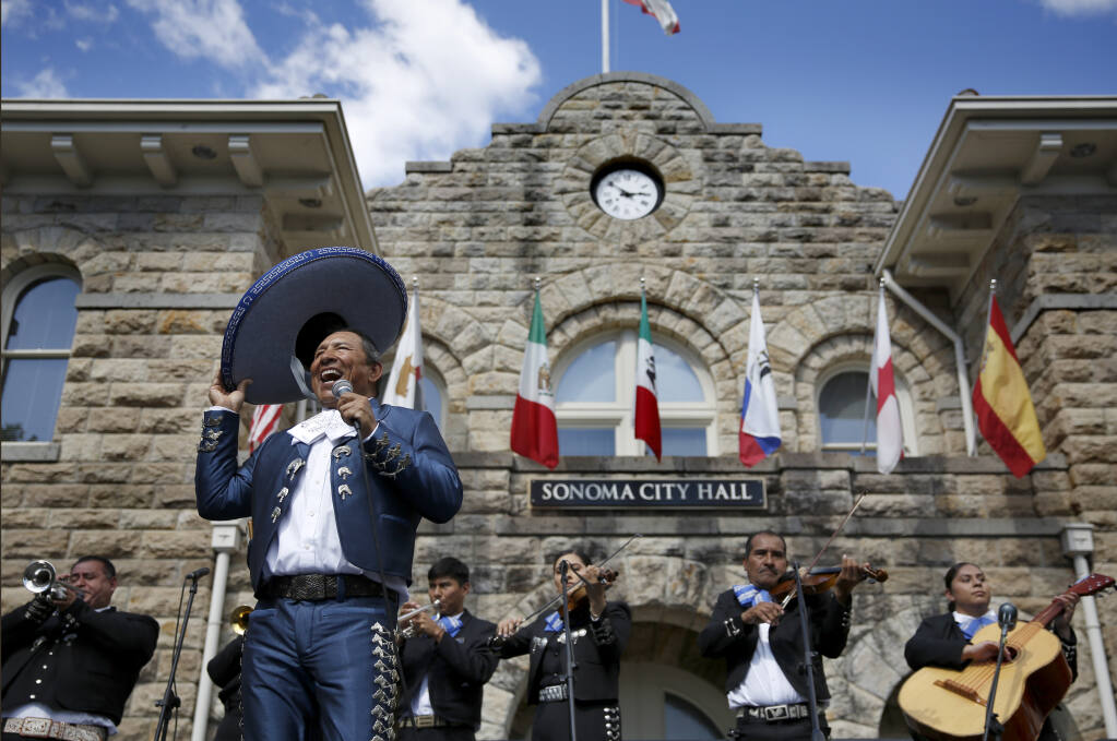 Apolo Cortes, sings with the group, Mariachi Azteca, during the Celebration of Mexican Heritage and Health Fair at the Plaza in Sonoma, Calif., on Sunday, September 19, 2021.(Beth Schlanker/The Press Democrat)