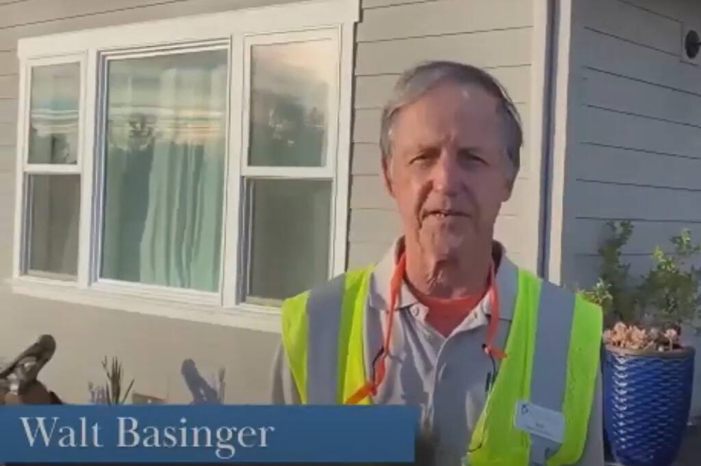 Walt Basinger, volunteer lead, Redwood Empire Food Bank, is seen as he accepts recognition by video during the 2020 North Bay Nonprofit Leadership Awards on Dec. 15, 2020. (screenshot)