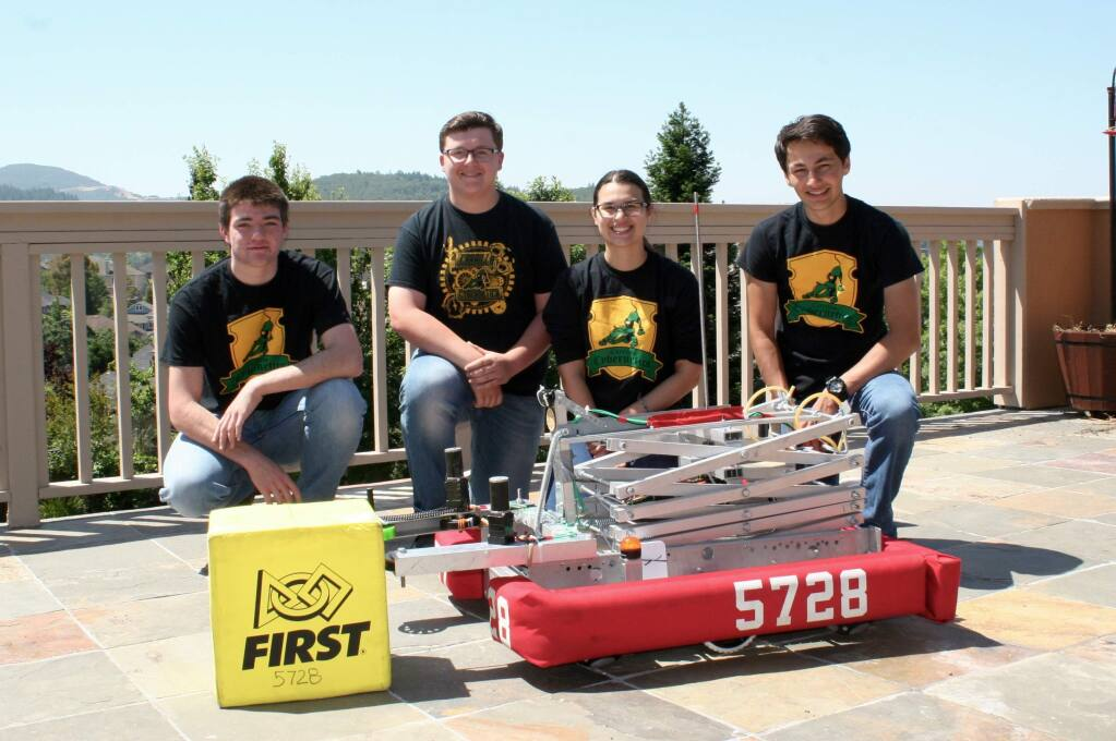 This team from Santa Rosa's Maria Carrillo High School places 15th in the FIRST (For Inspiration and Recognition of Science and Technology) Robotics Competition in March 2018. Team members, from left, are Kyle Reynolds, team safety captain; Katrina Storie, business captain; Scott Garcia, engineering captain; Justin DeRosa, engineering captain. (COURTESY PHOTO)