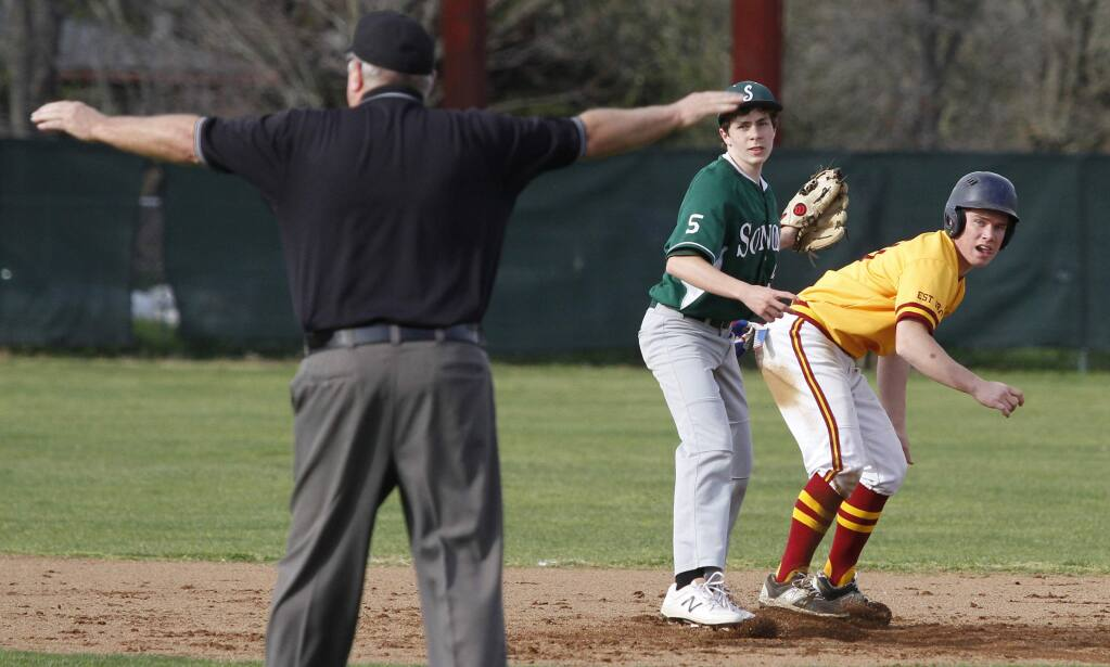 Bill Hoban/Index-TribuneThe umpire calls a Vintage runner safe at second base friday, much to Sonoma second-baseman Anthony Costanza's chagrin. The Dragons staged a big comeback, but fell one run short. Saturday, Sonoma beat Tamalpais, 4-1.