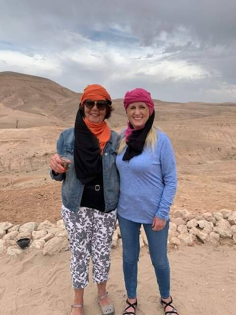 Gayle Guynup of Santa Rosa, right, with her friend Mary Van Zomeren, is stranded in Morocco and trying to arrange travel home. (Mary Van Zomeren)