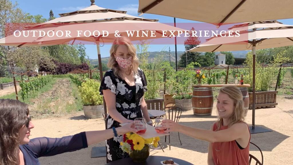 Video is one of the tools Napa Valley's Peju Province Winery uses to acquaint visitors to its reopened tasting experience in June 2020 are new coronavirus protocols such as masks for staff, by-appointment-only sessions and social distancing between tables and groups. (Facebook / Peju winery)
