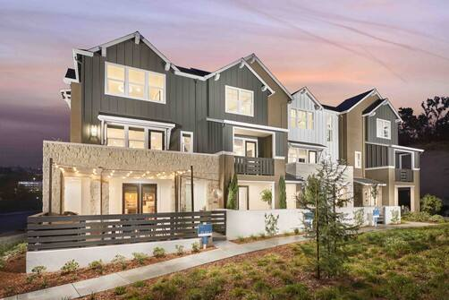 The first model homes for City Ventures' Round Barn 237-all-electric-townhome project are completed in 2020 in Santa Rosa's Fountaingrove neighborhood. (courtesy of City Ventures)