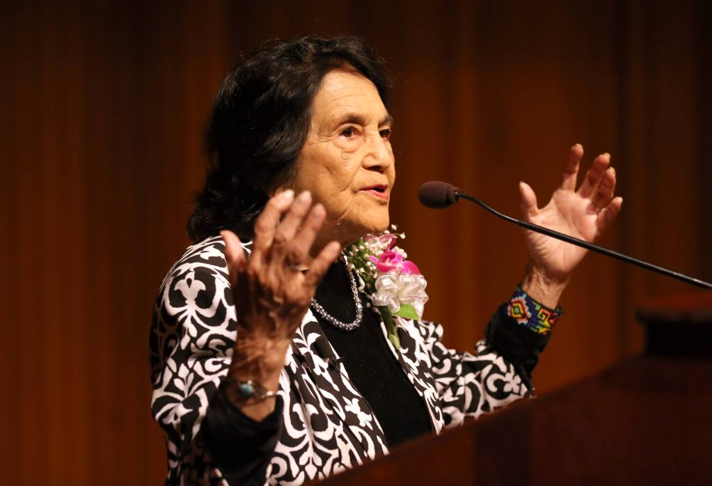 Dolores Huerta, the co-founder of the United Farm Workers of America with Cesar Chavez, speaks to a crowd at Santa Rosa Junior College in Santa Rosa on Monday, April 22, 2019. (BETH SCHLANKER/ The Press Democrat)